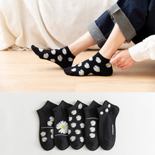 10 Piece=5 Pairs/lot Cotton women Socks Fashion Black and white Ladies Full Cotton Shallow Mouth Socks girl gift