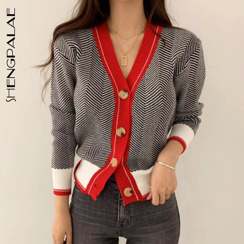 SHENGPALAE 2020 New Fashion Autumn V-neck Single Breasted Short Herringbone Pattern Cardigans Women Loose Casual Sweater FV295