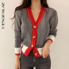 SHENGPALAE 2021 nowych moda wiosna V-neck pojedyncze piersi krótki wzór w jodełkę Cardigans kobiety luźny swobodny sweter FV295