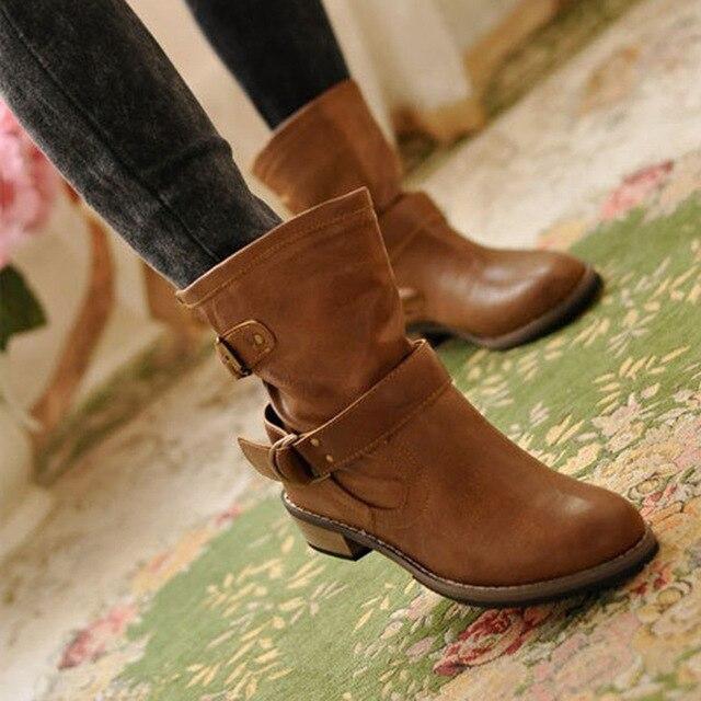 Botas de invierno para mujer, 2019, botas de cuero pu para motocicleta, botas con hebilla, zapatos casuales, botas de mujer, invierno, 2019