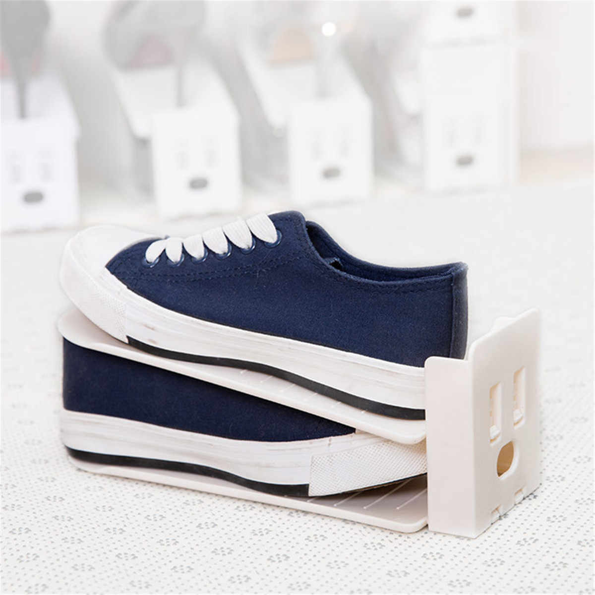 5 teile/satz Einstellbare 3 Ebene Schuh Rack Lagerung Box Schuh Veranstalter Schuhe Unterstützung Slot platzsparende Schrank Schrank Stehen schuhkarton