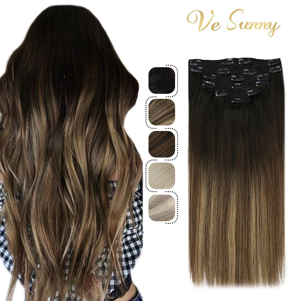 VeSunny Clip on Hair Extensions Human Hair Double Weft 7pcs Clip in Hair Balayage Natural Black Highlighted Brown 100gr