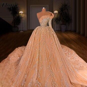 Pedrería recargada De una manga larga, vestidos De Novia De lujo, vestidos De Novia, diamantes De imitación, Arabia Saudita, novedad De 2021
