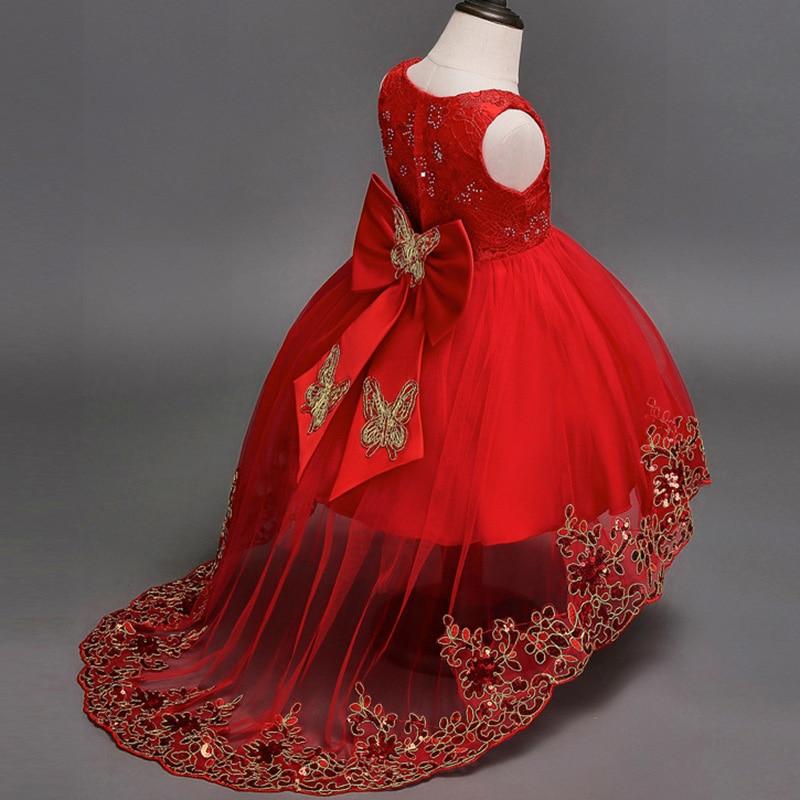 2019 Embroidery Girl Elegant Dress Big Bow Kids Dresses For Girls Clothing Party Wedding Tutu Dress Princess Dress 3 10 12 Year