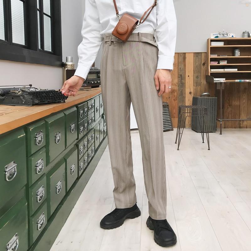 Men Vintage Fashion Streetwear Hip Hop Elastic Waist Stripe Causal Pant Male Business Straight Suit Pant Harem Trousers