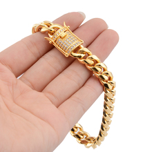 Promotion 10mm Stainless Steel Miami Curb Cuban Chain Bracelets White Crystal Casting Clasp Bangle Hip hop Jewelry