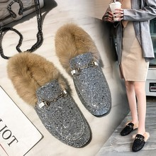 Fur shoes female autumn new slippers women wear 2018 spring and winter Baotou rabbit fur net red wild half drag Muller