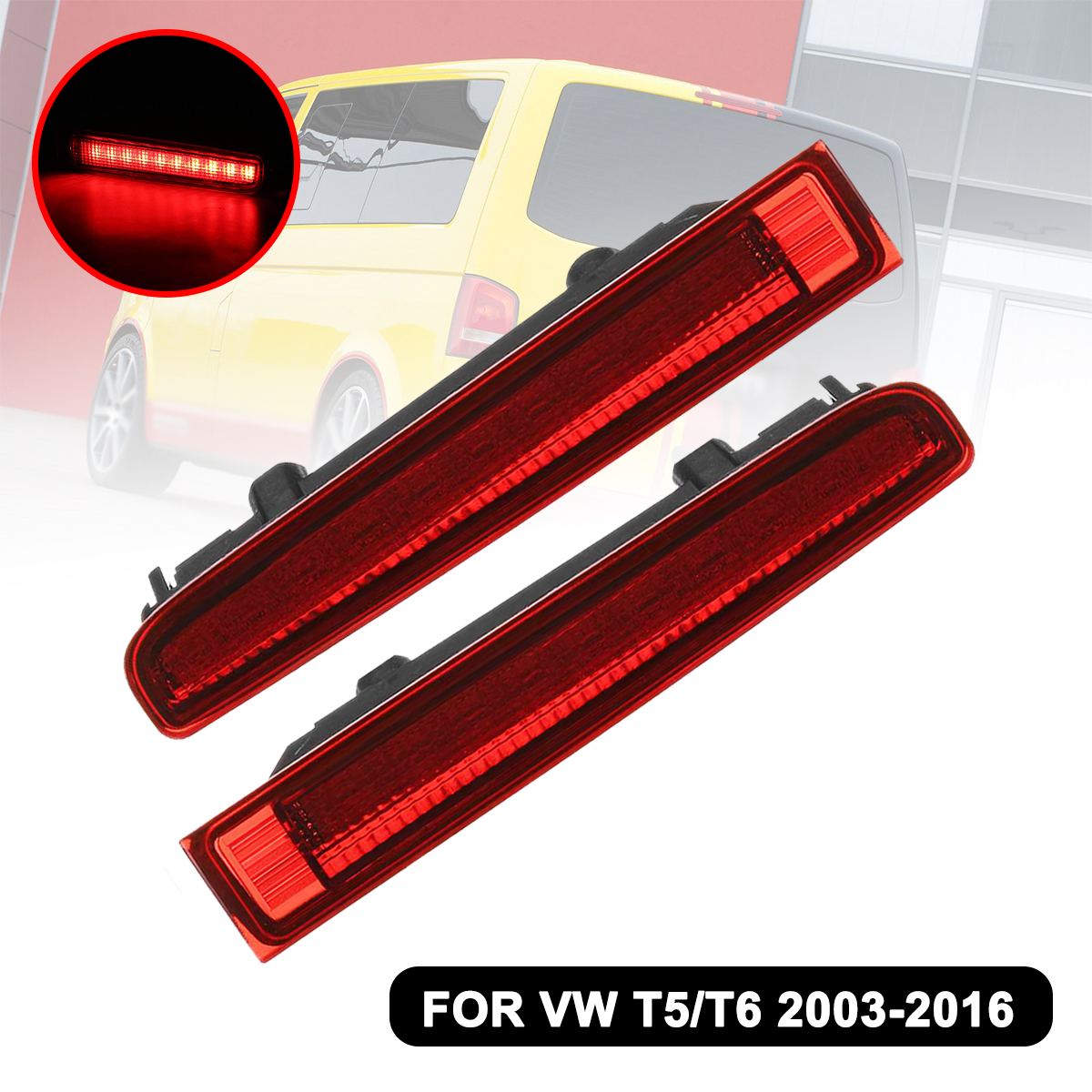 1 Pair Car Additional High Brake Stop <font><b>Light</b></font> Third For <font><b>VW</b></font> <font><b>T5</b></font> T6 for Transporter 2003-2016 High Mount Warning Turn Signal <font><b>LED</b></font> Lamp image