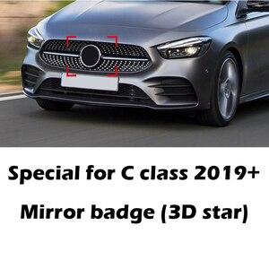 Image 1 - 3D yıldız ayna rozeti Logo Mercedes Benz için W205 C180 C260 C200 C300 C400 2019 2020 araba ön izgara amblem krom parlak siyah