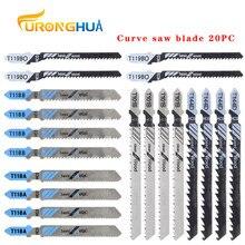 Hoja de sierra caladora con vástago e também de corte curvo, juego de sierra caladora, metal, t144d/t118b/118a/t119bo/t101b20pc