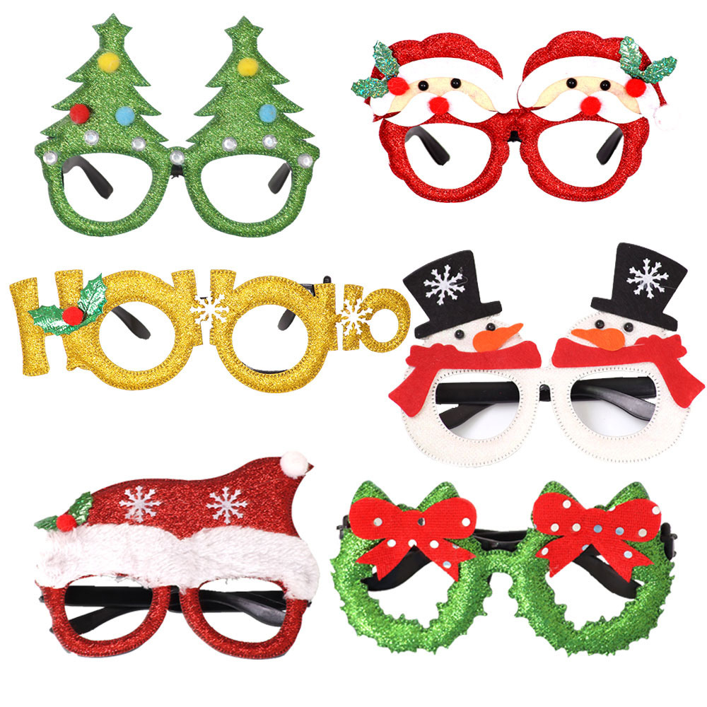 Large Plastic SantaClaus Head GlassesChristmas Ornament Holiday Craft Sparkling