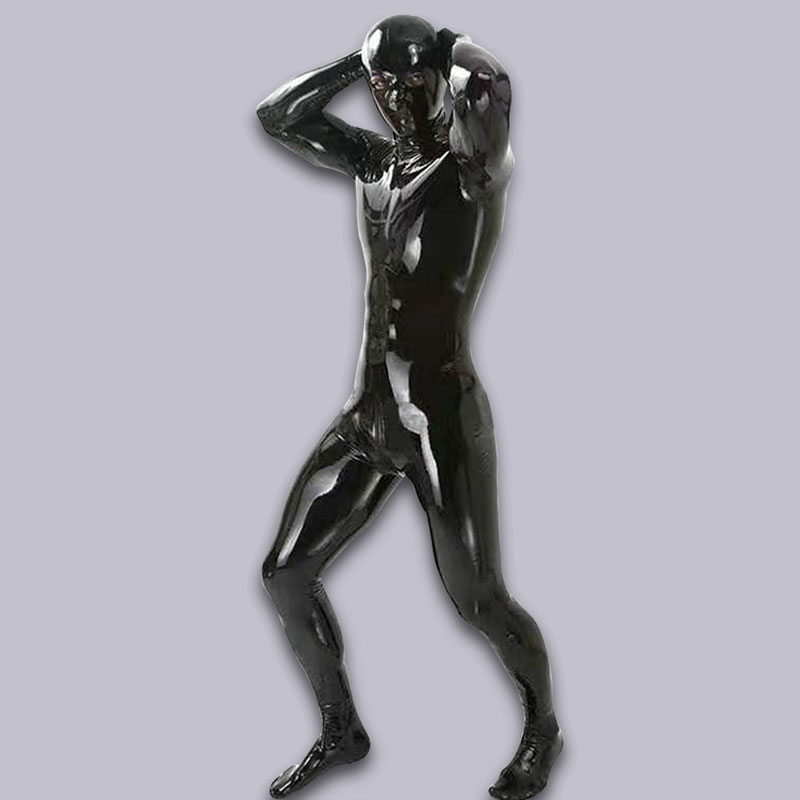 Sexy Men Shiny Full Body Cover Bodysuit PU Latex U Convex Pouch  Jumpsuit Sexy Lingerie Sexy Tight Gay Wear Plus Size With Glove