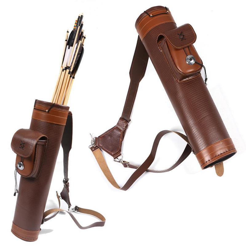 Traditional Cow Leather Archery Back Quiver Holder Bag Adjustable Straps
