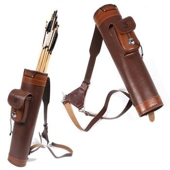 Traditionellen Kuh Leder Bogenschießen Zurück Köcher Halter Tasche Verstellbaren Trägern-in Pfeil & Bogen aus Sport und Unterhaltung bei