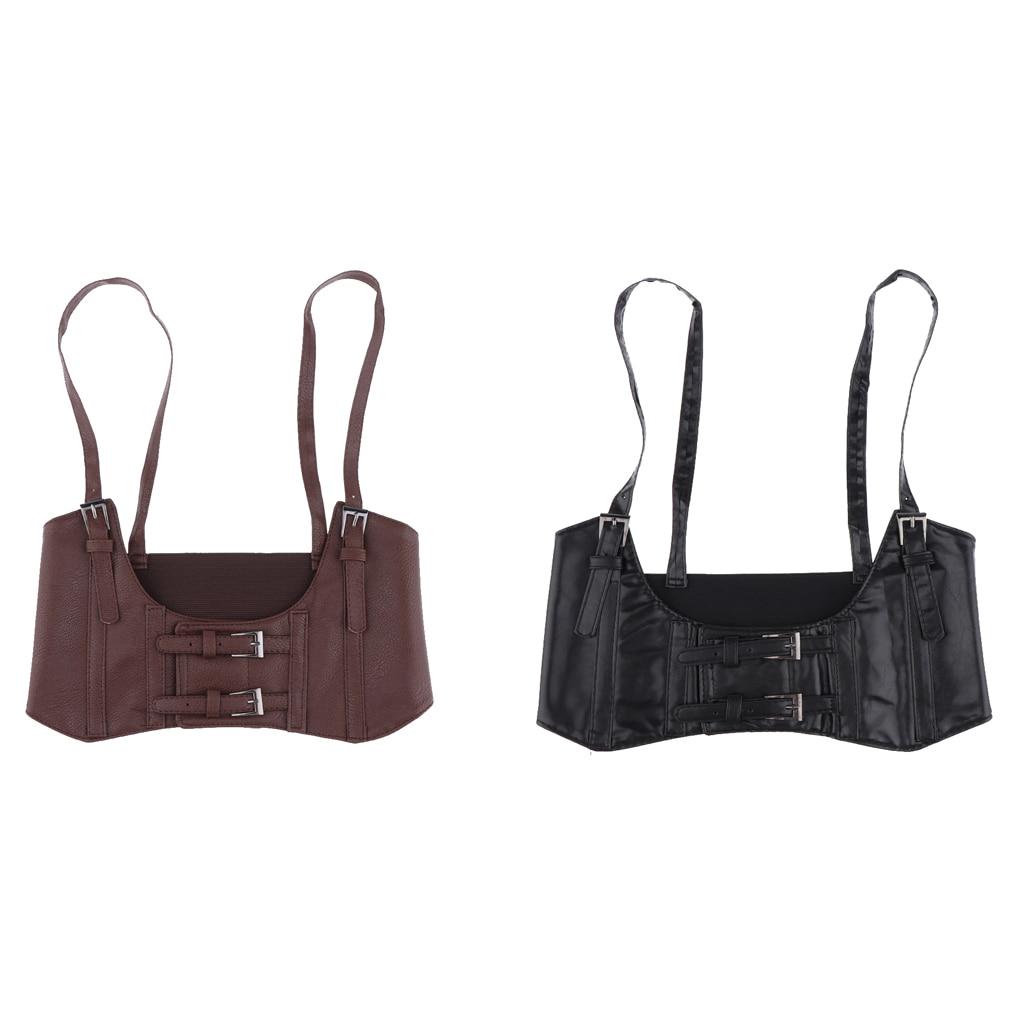 Women Sexy Leather Elastic Wide Band Waist Belt Waspie Corset Cinch Underbust