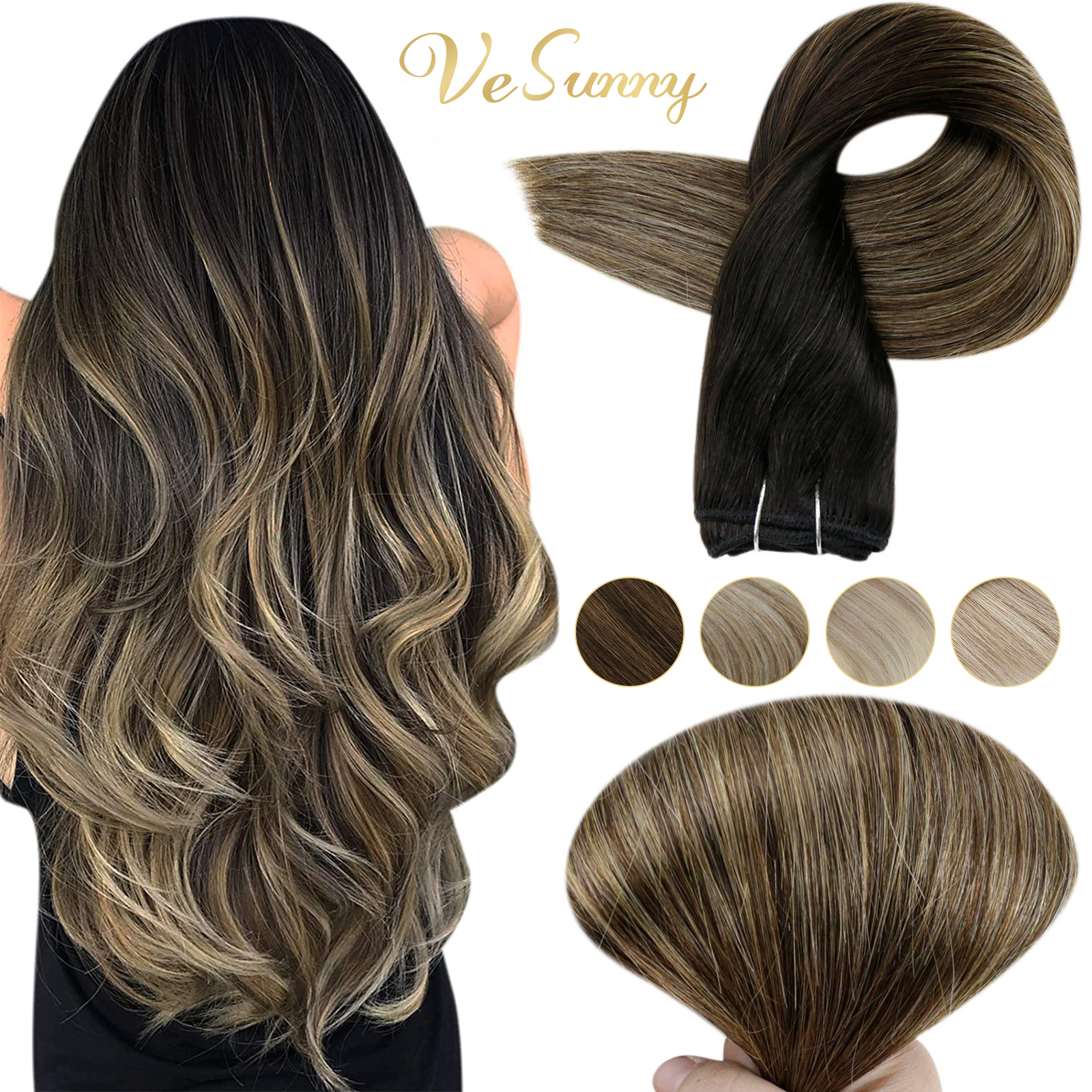 VeSunny Real Hair Weft Bundles Remy Weft Hair Extensions Balayage Weave In Hair Extensions Sew In Hair Extensions 100g  #1b/6/27
