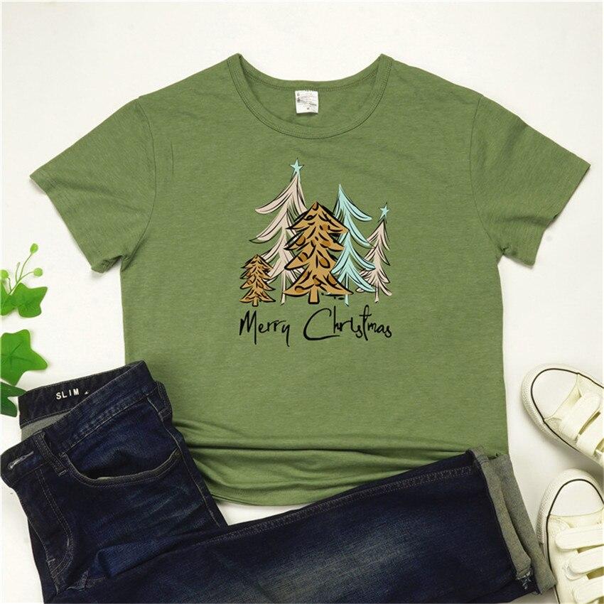 Christmas Tree T Shirt Women Clothes 2019 Christmas Tops Tee Short Sleeve Tee Shirts Female Green Top Lady O-neck T-shirt 3XL