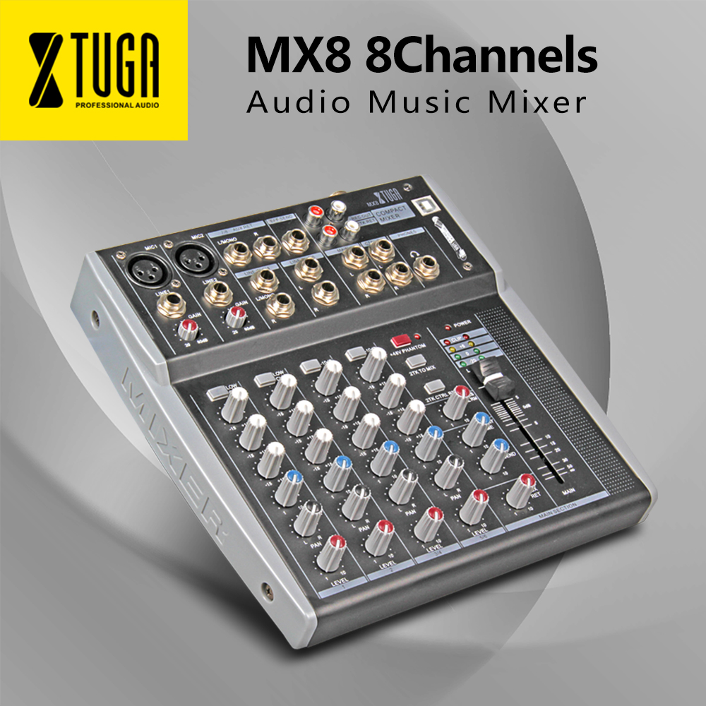 XTUGA MX8 8Channels 3-Band EQ Audio Music Mixer Mixing Console With USB XLR LINE Input 48V Phantom Power For Recording DJ Stage
