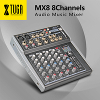 XTUGA MX8 8Channels 3 Band EQ Audio Music Mixer Mixing Console with USB XLR LINE Input 48V Phantom Power for Recording DJ Stage
