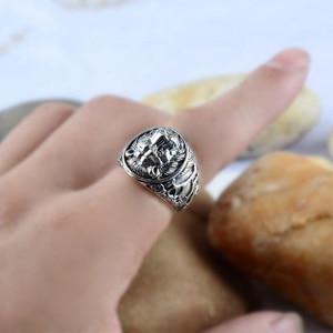 Image 4 - מוצק 925 כסף סטרלינג Mens האריה טבעת בציר Steampunk רטרו Biker טבעות לגברים עצי Deers חקוק זכר תכשיטים