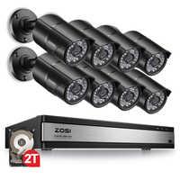 ZOSI 1080P 16 Kanal CCTV Recorder System Nachtsicht Outdoor Kugel Kamera Überwachung Sicherheit Video Kamera DVR Kit HDD