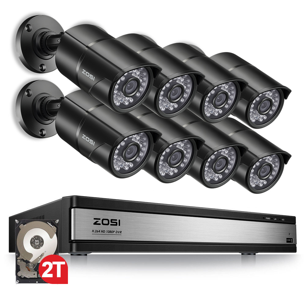 ZOSI 1080P 16kanálový CCTV záznamový systém Nightvision Outdoor Bullet Camera Surveillance Security Video kamera DVR Kit HDD