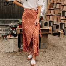 女性ポルカドットボヘミアンラップロングスカート2021 celmiaファッションハイウエスト非対称包帯カジュアルスリットマキシスカートプラスサイズ