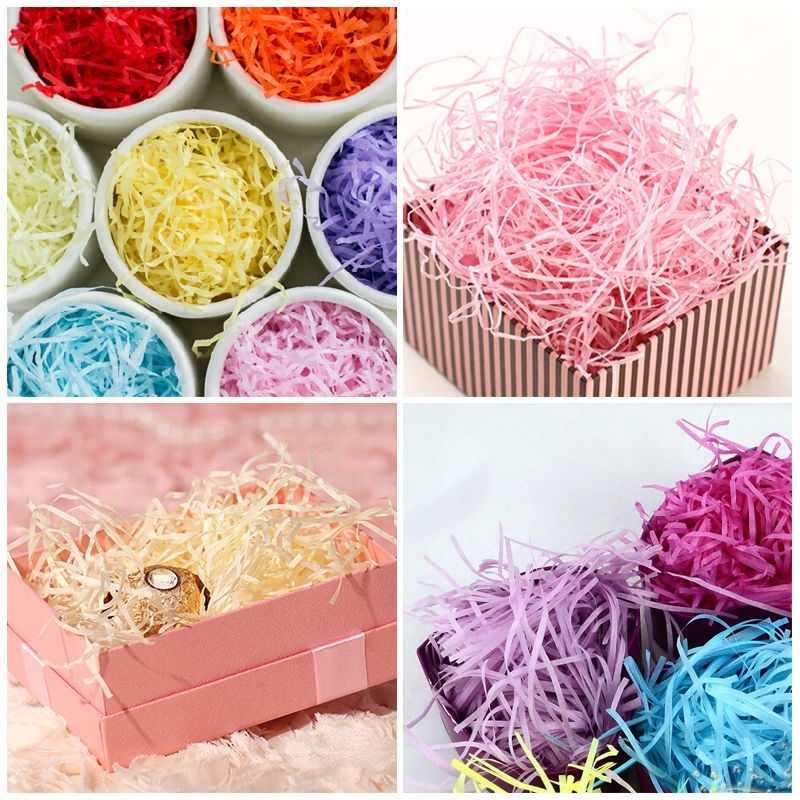 20g kolorowe rozdrobnione marszczone papier rafia pudełka na cukierki DIY pudełko materiał do wypełniania tkanki Party opakowanie na prezenty wypełniacz Decor