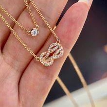 Chaud complet zircone chanceux 8 collier deux couches noeud serrure tour de cou chance porte-clés bijoux de fête stelring argent top qualité bijoux
