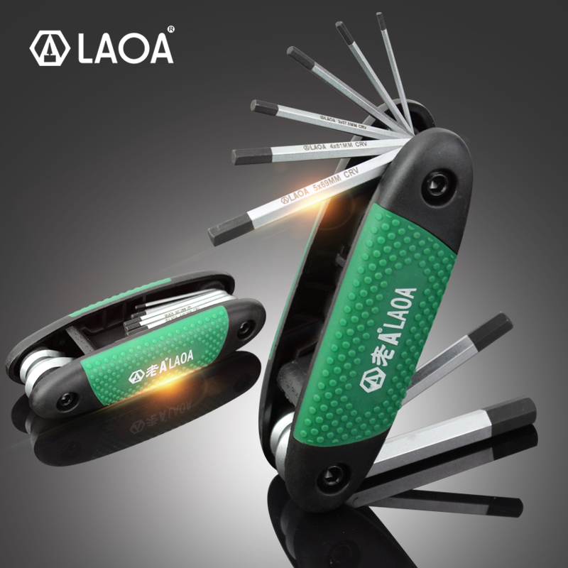 LAOA 8PCS Folding Allen Key Set Portable Hex Wrench Inner Hexagon Screwdriver Made Of CR-V Steel Durable And Easy To Carry