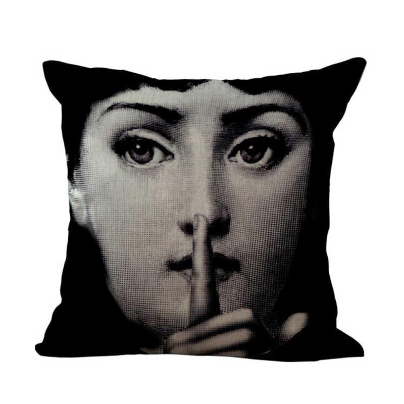 W stylu Vintage Piero Fornasetti poszewka na poduszkę piękno twarzy drukowane pościel bawełniana ozdobna poszewka na poduszkę sofa biurowa rzuć poszewka na poduszkę Home Decor