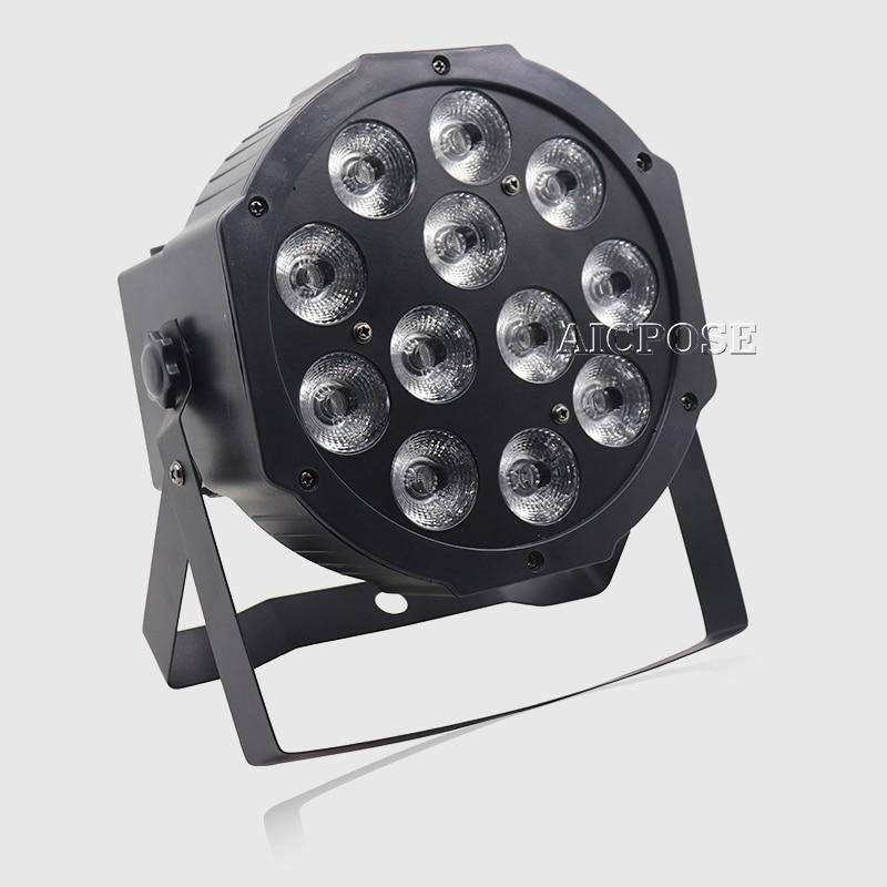 Купить с кэшбэком 8pcs 12*12w led lamp beads 12x12W led Par lights RGBW 4in1 flat par led dmx512 disco lights professional stage dj equipment