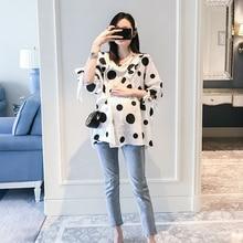 701# Polka Dot Printed Maternity Blouses Spring Summer Korean Fashion Loose Shirt Clothes for Pregnant Women Pregnancy Tunic Top