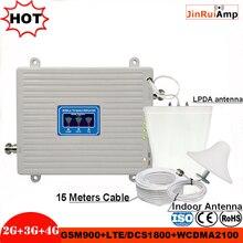 Repetidor de tres bandas 2G 3G 4G GSM 900 DCS/LTE 1800 WCDMA/UMTS 2100MHz amplificador de antena de Amplificador de señal móvil