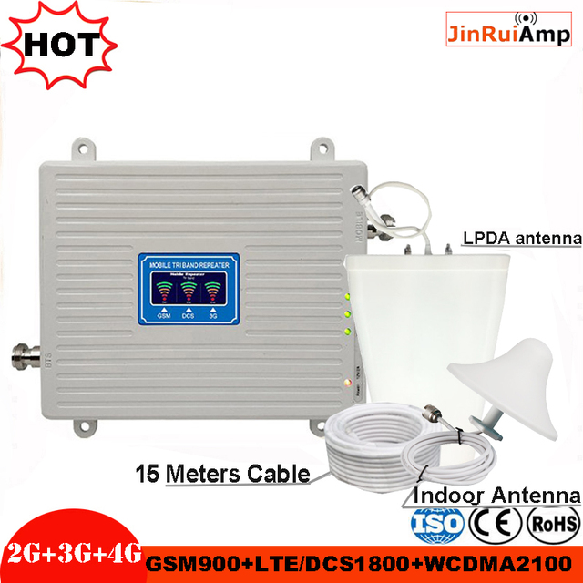 Tri Band Repeater 2G 3G 4G GSM 900 DCS/LTE 1800 WCDMA/UMTS 2100MHz Amplifier Mobile cellular Signal booster Antenna Set Booster