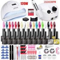 Set di unghie 120W/54W Set di unghie per lampada UV per Set di Manicure con Set di smalti per Gel Kit di trapani per unghie Kit di adesivi per unghie Kit per unghie