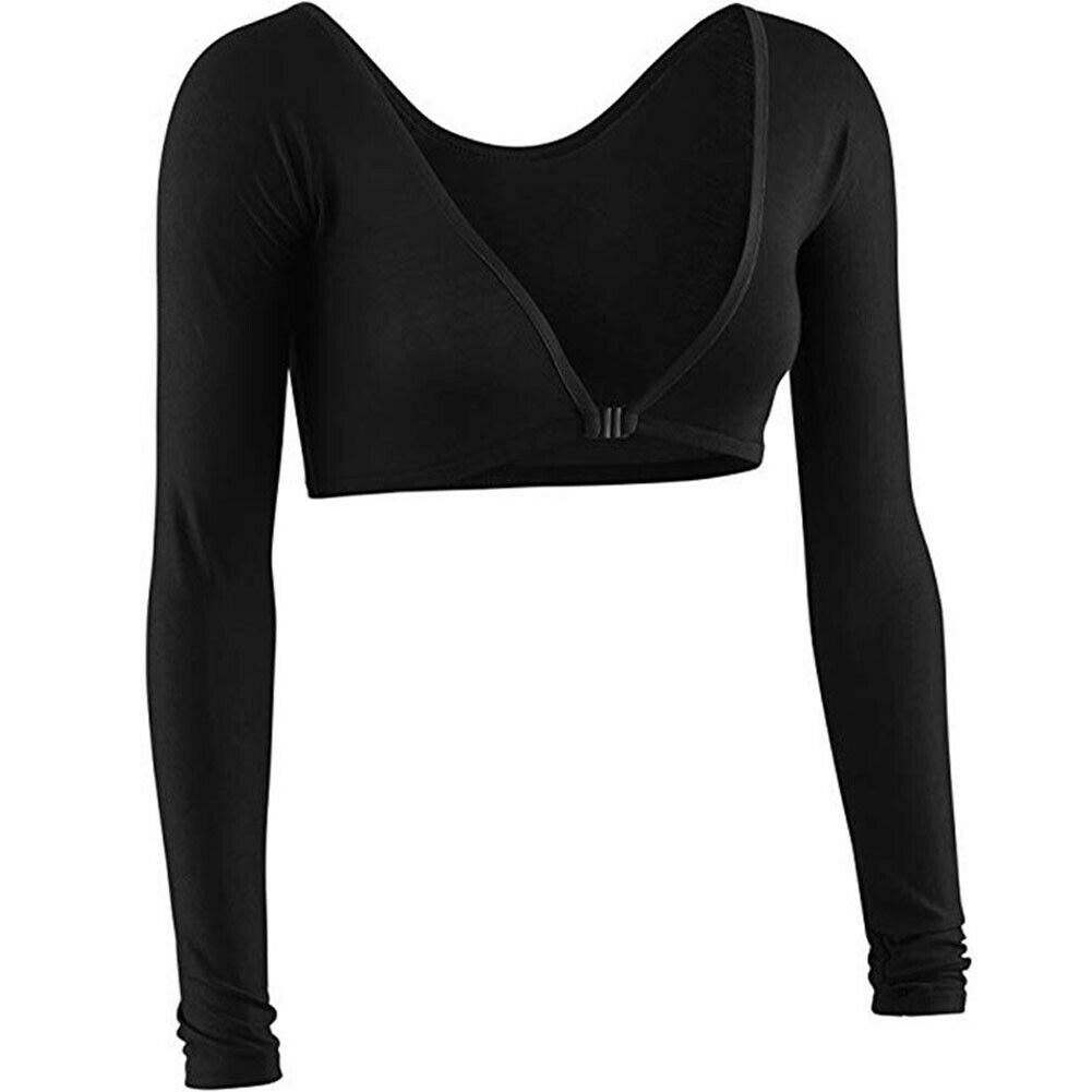 Hirigin Women's Cotton <font><b>V</b></font>-<font><b>neck</b></font> Casual Long Sleeve Loose Front <font><b>buckle</b></font> T Shirt Short <font><b>Crop</b></font> <font><b>Tops</b></font> image