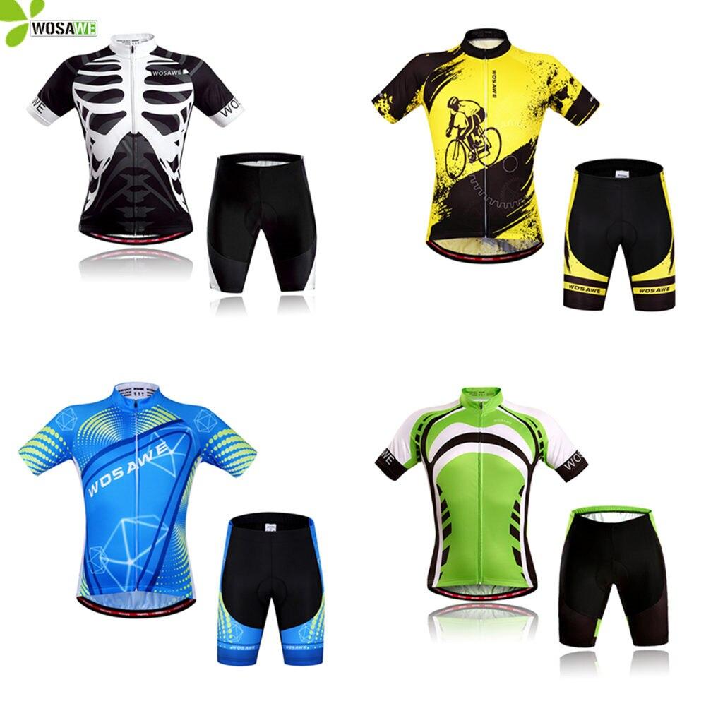 Wosawe conjuntos de ciclismo men gel acolchoado verão manga curta bicicleta terno respirável mtb jérsei kit roupas ciclo