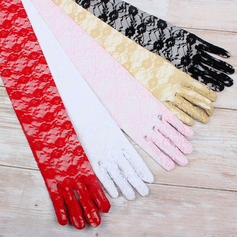 Cheap White Lace Bridal Gloves Red White Cotton Fingers Long Gloves For Wedding Women Party Accessories Bridesmaid Pink Gloves
