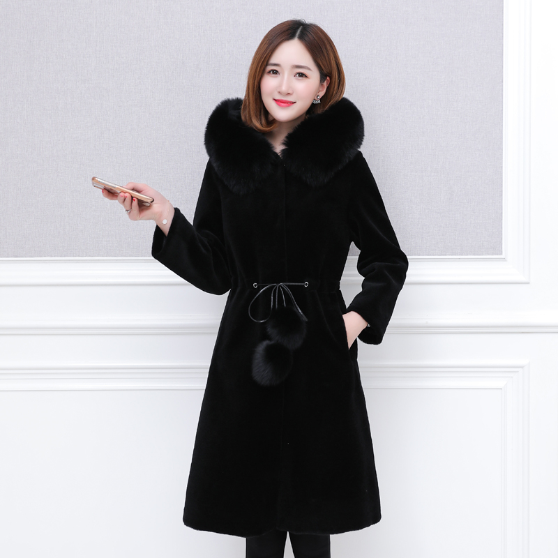 2020 New Lamb Fur Coat Female Long Sheep Shearing Fox Fur Collar Winter Jacket Women Plus Size Casacas Para Mujer KJ513