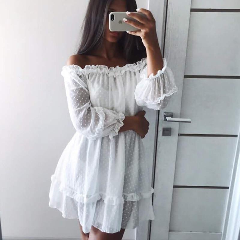 Werynica 2020 new women's summer ruffle dress white dress bare shoulders slash neck dress women mini beach dresses for female