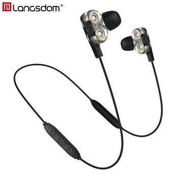 Langsdom BD34 Wireless Headphone Dual Driver Bluetooth Earphone with Mic CVC6.0 Super Bass Bluetooth Headset for Phone