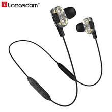 Langsdom bd34 motorista duplo fones de ouvido sem fio bluetooth com microfone cvc6.0 super bass fone para o telefone