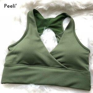 Image 3 - Peeli 高サポートスポーツブラトップ女性ジムブラジャースポーツ bh フィットネスシームレスプッシュアップブラジャーパッド入りスポーツトップアクティブ着用