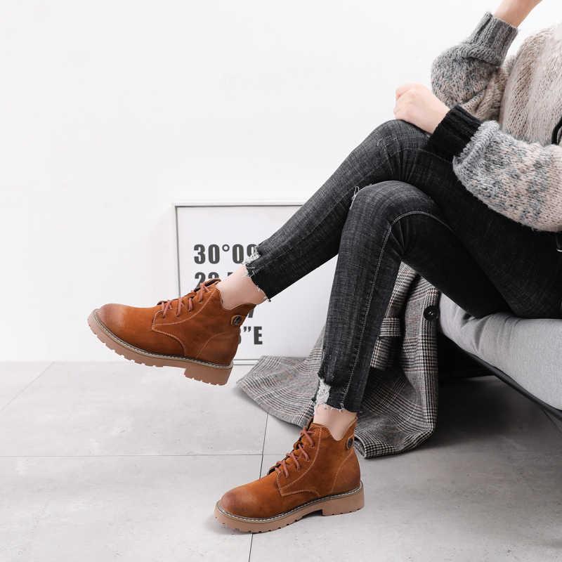 Ủng Nữ Giày Nữ Người Phụ Nữ Nền Tảng Shose Nữ Mùa Đông Bot Da 2019 Nữ Mắt Cá Chân Thời Trang Cao Cấp Nhà Thiết Kế Coturno Botas