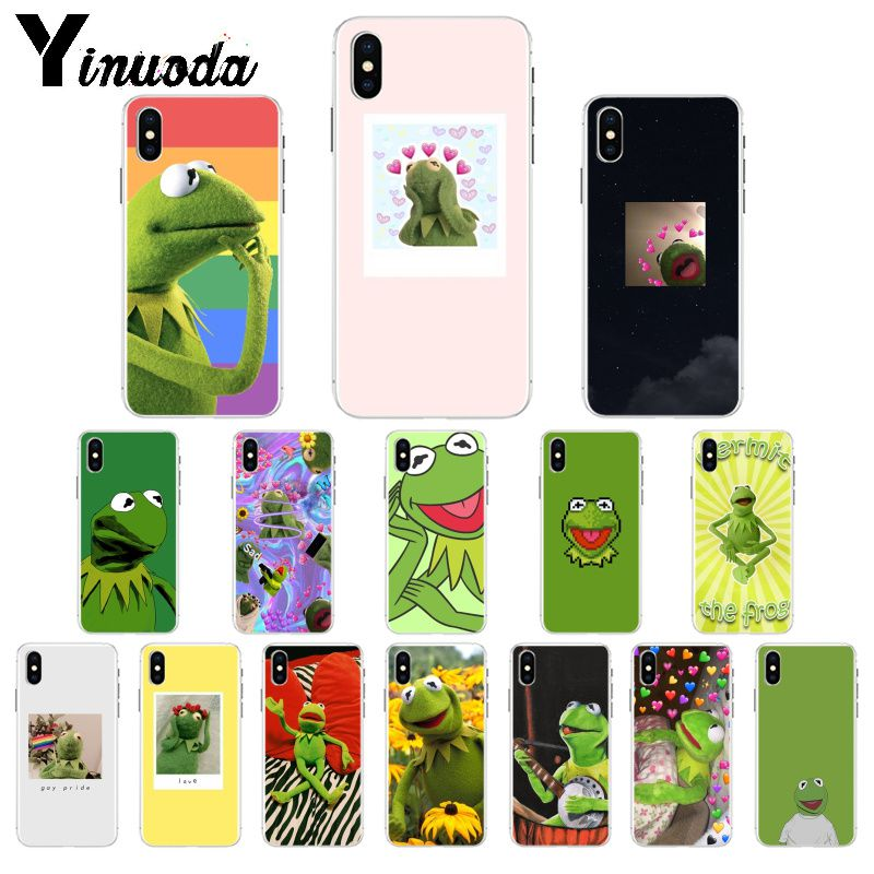 Yinuoda kermit the frog meme TPU Soft Phone Case for iPhone 8 7 6 6S Plus 5 5S SE XR X XS MAX Cover image