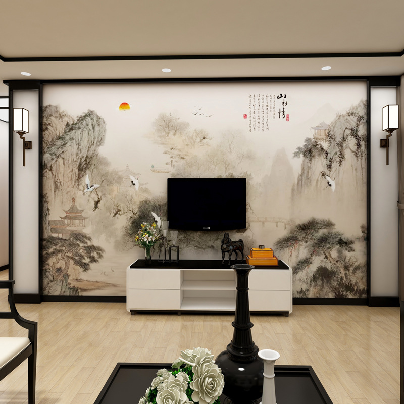 3D TV Wall Wallpaper Chinese Style Living Room Film And Television Wallpaper Living Room Decoration Customize The Murals 5D Seam
