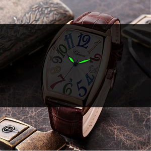 Image 2 - Fashion Luxury Brand Square Watch Men Tonneau Waterproof Business Quartz Leather Wrist Watch for Men Clock Male erkek kol saati