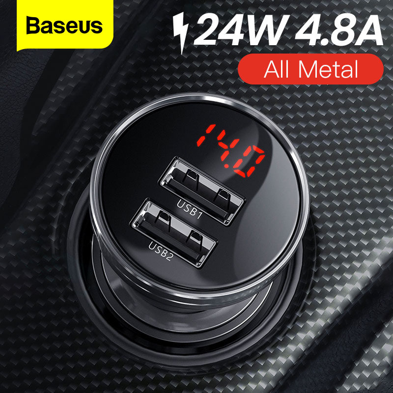 Baseus All Metal Dual USB Car Charger 24W 4.8A Fast Car USB Charger LED Auto Car Charging Adapter For IPhone Xiaomi Mobile Phone