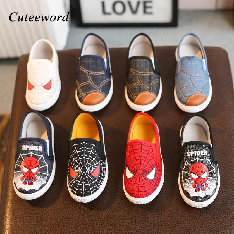 Children Canvas Shoes For Boys And Girls Casual Shoes Cartoon Print Kids Shoes Breathable Comfortable Toddler Baby Boys Sneakers